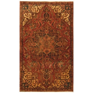 Handmade Herat Oriental Persian Hand-knotted Semi-Antique Tribal Heriz 1940's Wool Rug (5'6 x 9'4) - 5'6 x 9'4