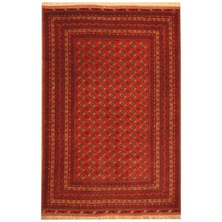 Handmade Herat Oriental Afghan Hand-knotted Mouri Turkoman Wool Rug (6'8 x 10'3) - 6'8 x 10'3