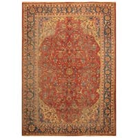 Handmade Herat Oriental Persian Hand-knotted Antique Isfahan 1920's Wool Rug  (7'5 x 10'7) - 7'5 x 10'7