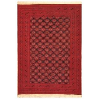 Handmade Herat Oriental Afghan Hand-knotted Turkoman Wool Rug (6'2 x 9'3) - 6'2 x 9'3