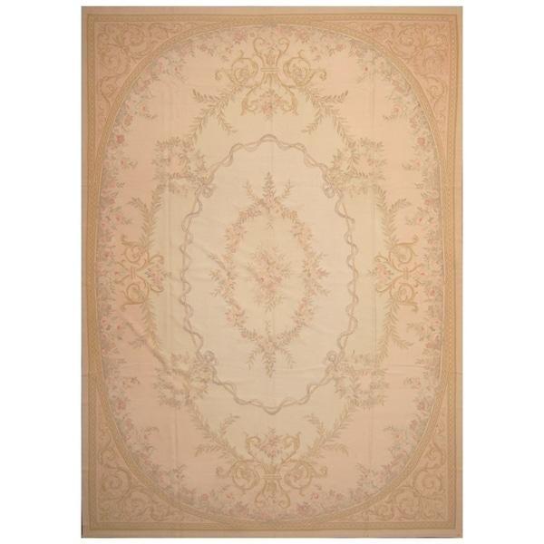 Handmade Sino Aubusson Flatweave Wool Rug - 9'7 x 13'6