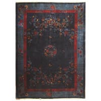 Handmade Herat Oriental Chinese Hand-knotted Antique Art Deco 1920's Wool Rug (9'5 x 13') - 9'5 x 13'