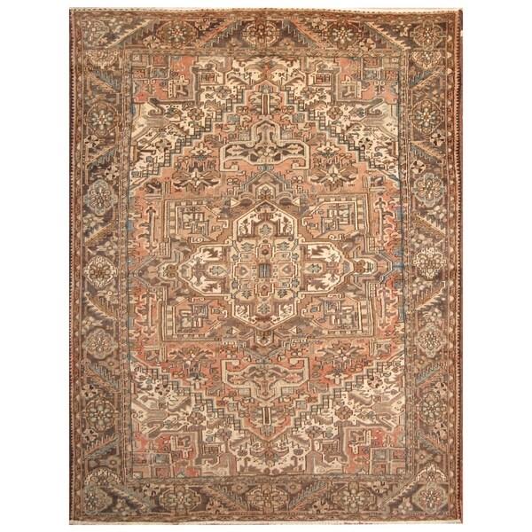 Vintage Persian Heriz Design Wool Area Rug: Shop Handmade Herat Oriental Persian Hand-knotted Semi