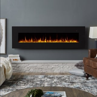 Real Flame Corretto Black Steel 72-inch Electric Wall Fireplace