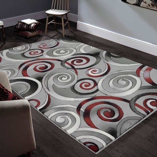 "Allstar Rugs Hand-Carved Grey and White Rectangular Accent Area Rug with Red Abstract Swirl Design - 9' 8"" x 7' 5"""