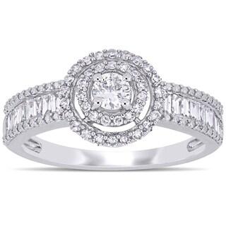 Miadora 14k White Gold 3/4ct TDW Multi-Cut Diamond Double Halo Engagement Ring