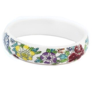 Michael Valitutti Multi Color Flower Chinese Traditional Fashion Ceramic Bangle