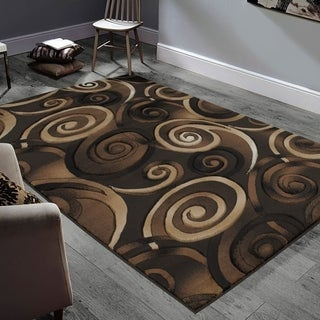 """Allstar Rugs Hand-Carved Chocolate and Espresso Rectangular Accent Area Rug with Mocha Abstract Swirl Design - 9' 8"""" x 7' 5"""""""