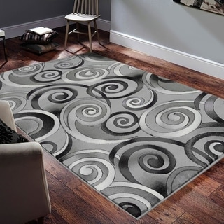 "Allstar Rugs Hand-Carved Grey and White Rectangular Accent Area Rug with Charcoal Grey Abstract Swirl Design - 6' 11"" x 4' 11"""