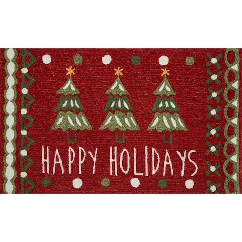"Hand-hooked Red/ Green Happy Holidays Area Rug - 1'8"" x 2'8"""