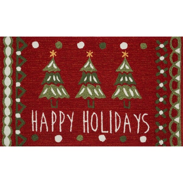 Shop Hand Hooked Red Green Happy Holidays Area Rug 1 8 X 2 8