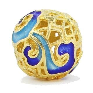 Michael Valitutti Palladium Silver Dark & Light Blue Enamel Ball Charm