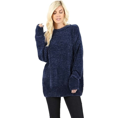 JED Women's Chenille Oversized Plush Pullover Sweater