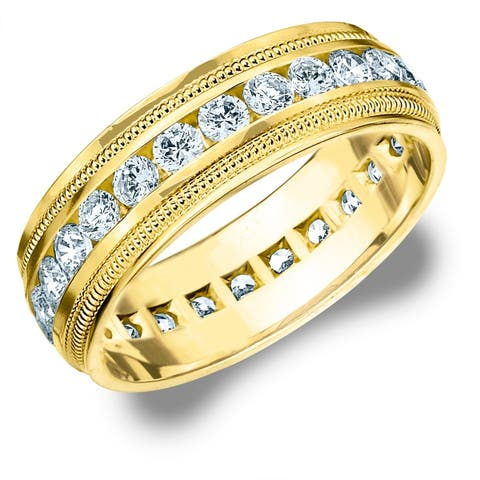 2CT Milgrain Channel Set Lab Grown Diamond Eternity Men's Ring, E-F/VS