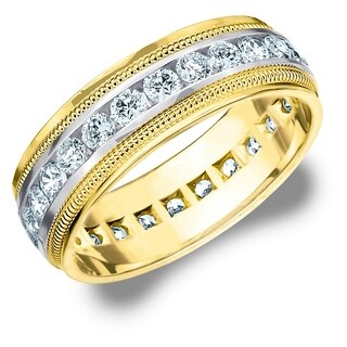 2CT Milgrain Channel Set Lab Grown Diamond Eternity Men's Ring, E-F/VS