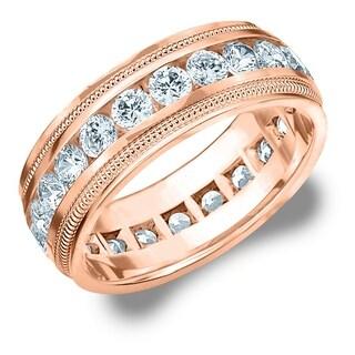 3CT Milgrain Channel Set Lab Grown Diamond Eternity Men's Ring, E-F/VS