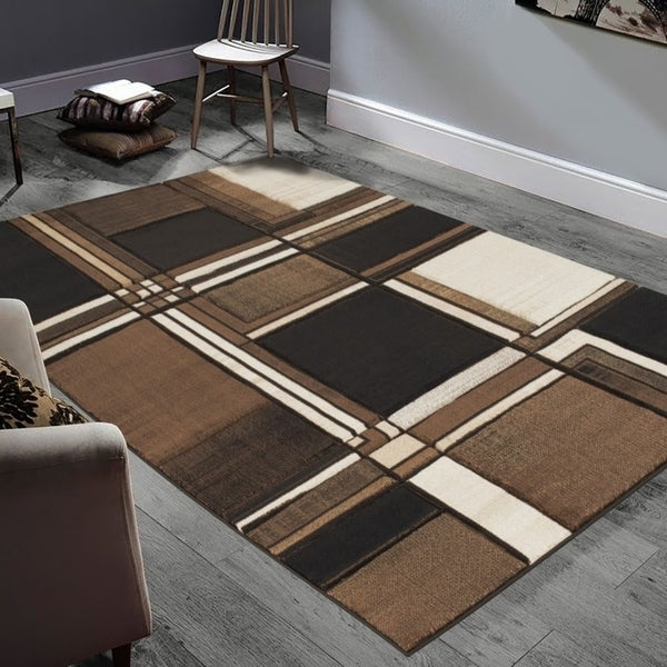 Allstar Rugs Hand-Carved Chocolate and Espresso Rectangular Accent Area Rug with Cream Abstract Geometric Design