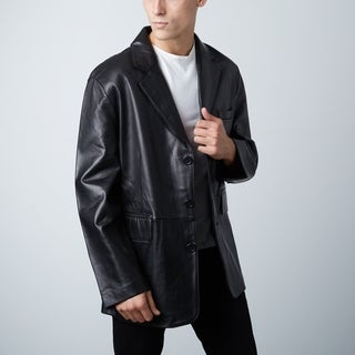 Men's Black Leather Blazer Sports Jacket 3-Button