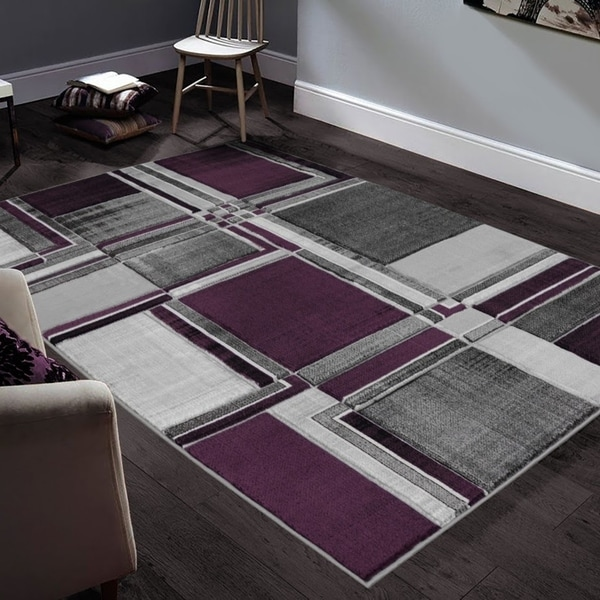 """Allstar Rugs Hand-Carved Grey and White Rectangular Accent Area Rug with Purple Abstract Geometric Design - 9' 8"""" x 7' 5"""""""