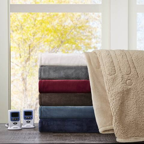 Beautyrest Solid Microlight to Berber Heated King Size Blanket in Indigo (As Is Item)
