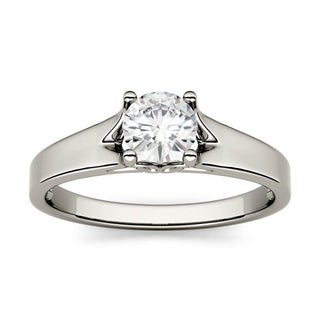 Moissanite By Charles Colvard 14k White Gold 0 50 DEW Round Solitaire Engagement Ring