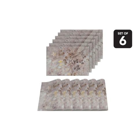 Dainty Home Garden Print Design Textilene Set of 6 Placemats