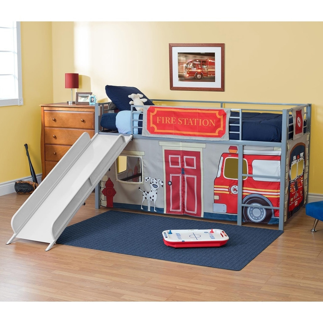 Shop Dhp Junior Themed Twin Loft Bed With Slide And Curtain Set