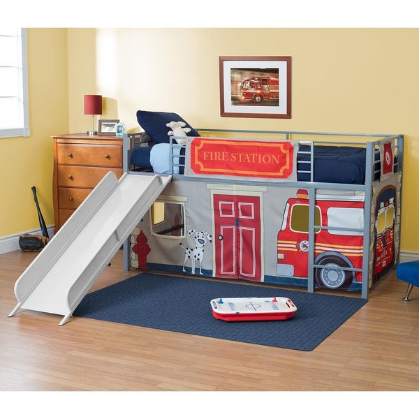 DHP Junior Themed Twin Loft Bed with Slide and Curtain Set. Opens flyout.
