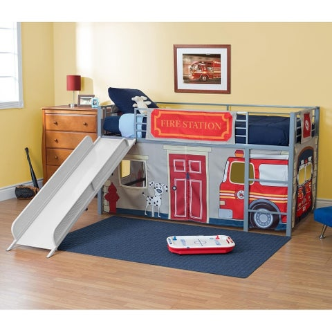 DHP Junior Themed Twin Loft Bed with Slide and Curtain Set