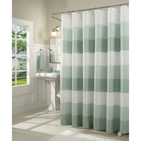 Dainty Home Ombre Waffle Weave Fabric Shower Curtain