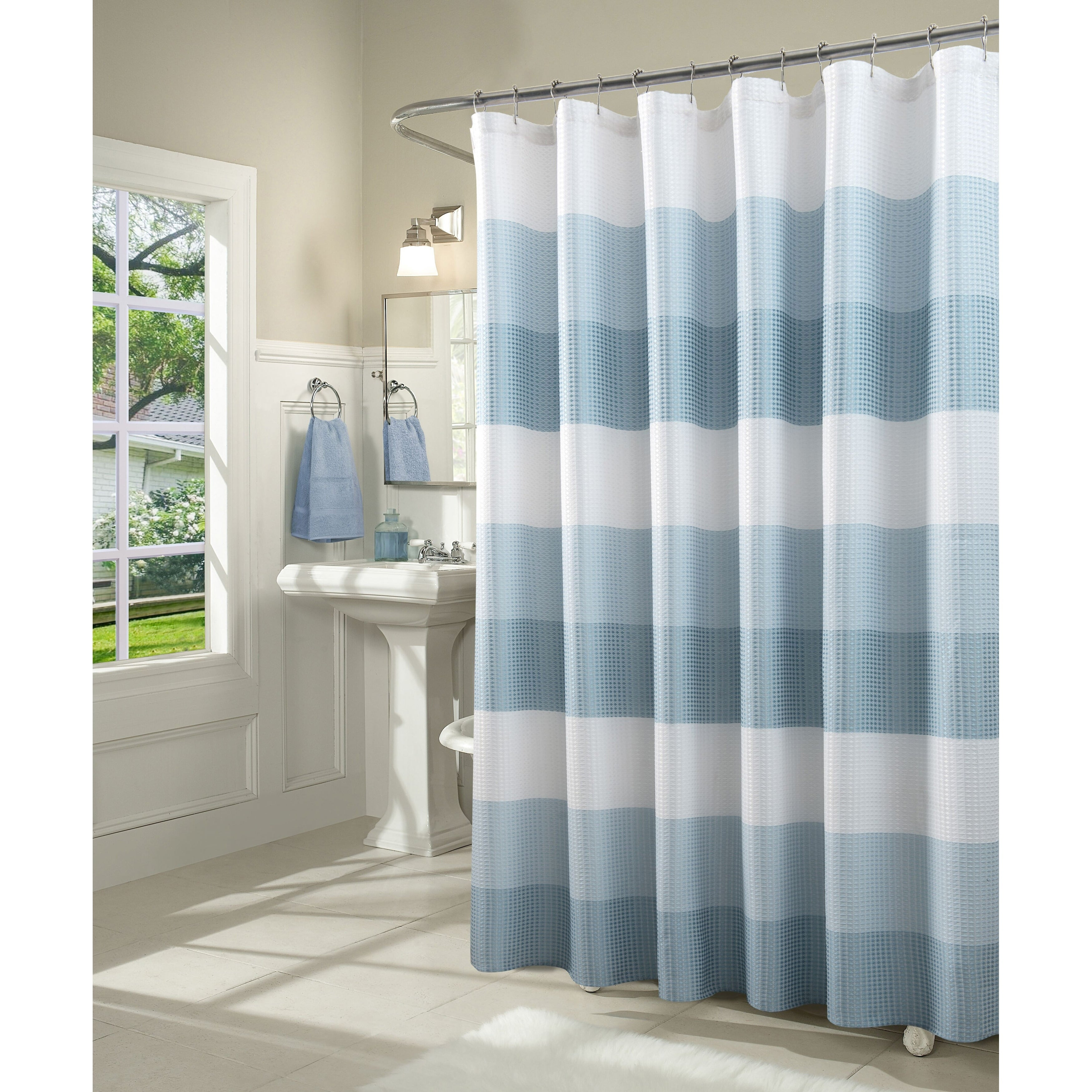 Shop Dainty Home Ombre Waffle Weave Fabric Shower Curtain Overstock 25716165