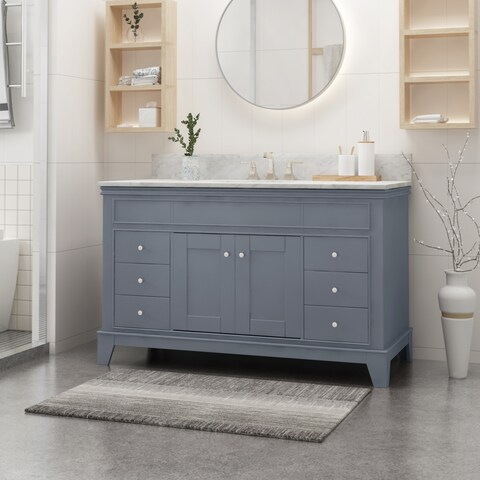 """Feldspar Contemporary 48"""" Wood Single Sink Bathroom Vanity with Carrera Marble Top by Christopher Knight Home"""