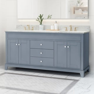 """Feldspar Contemporary 72"""" Wood Double Sink Bathroom Vanity with Carrera Marble Top by Christopher Knight Home"""