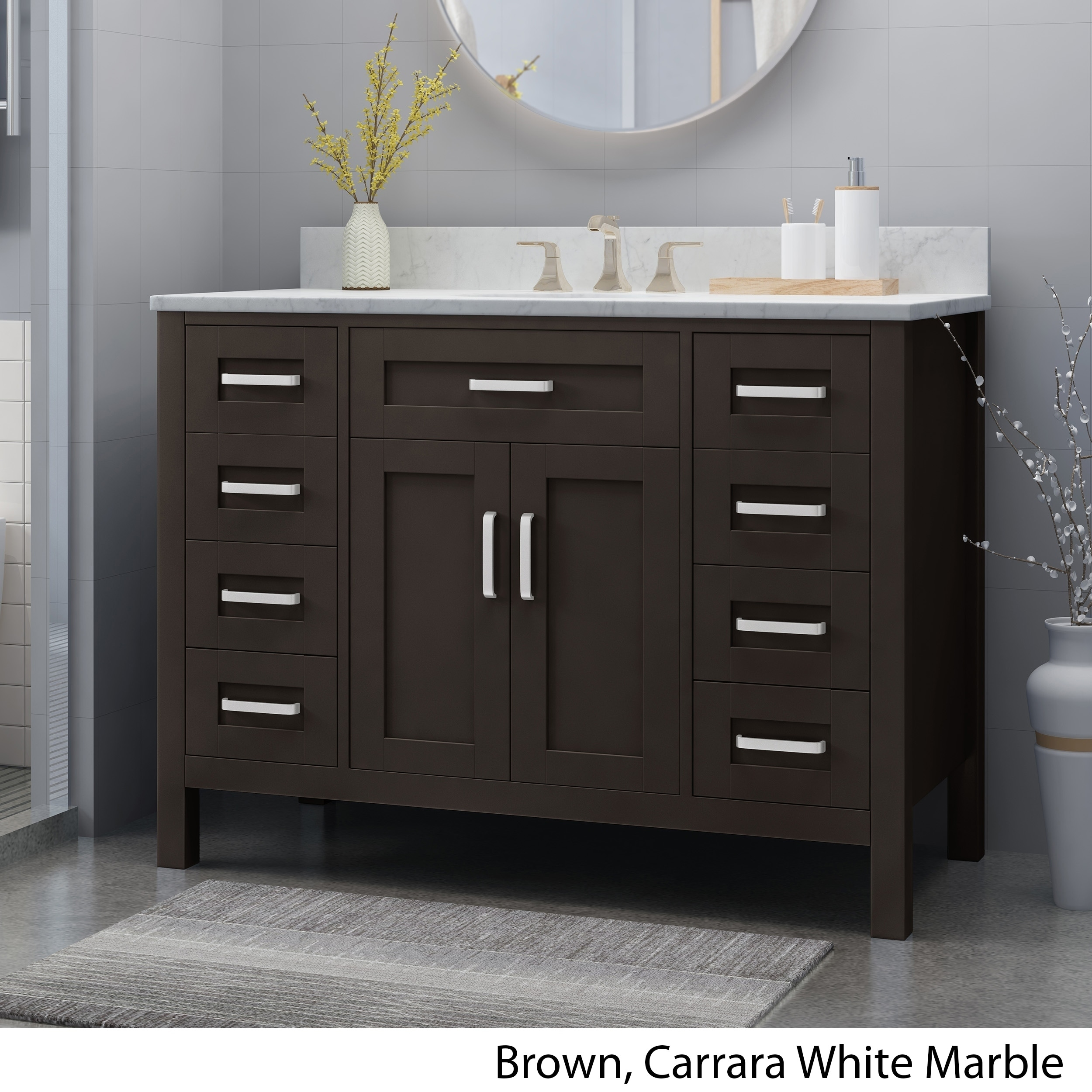 Surprising Greeley Contemporary 48 Wood Single Sink Bathroom Vanity With Carrera Marble Top By Christopher Knight Home Download Free Architecture Designs Pushbritishbridgeorg