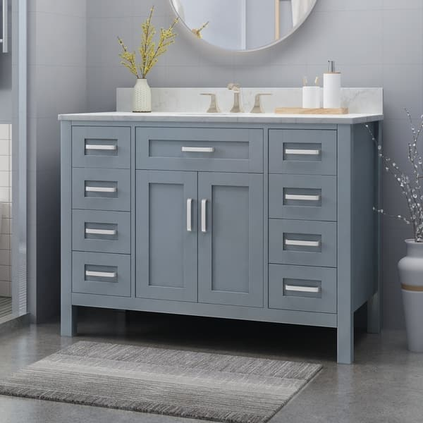 Greeley Contemporary 48 Wood Single Sink Bathroom Vanity With Carrera Marble Top By Christopher Knight Home On Sale Overstock 25716175