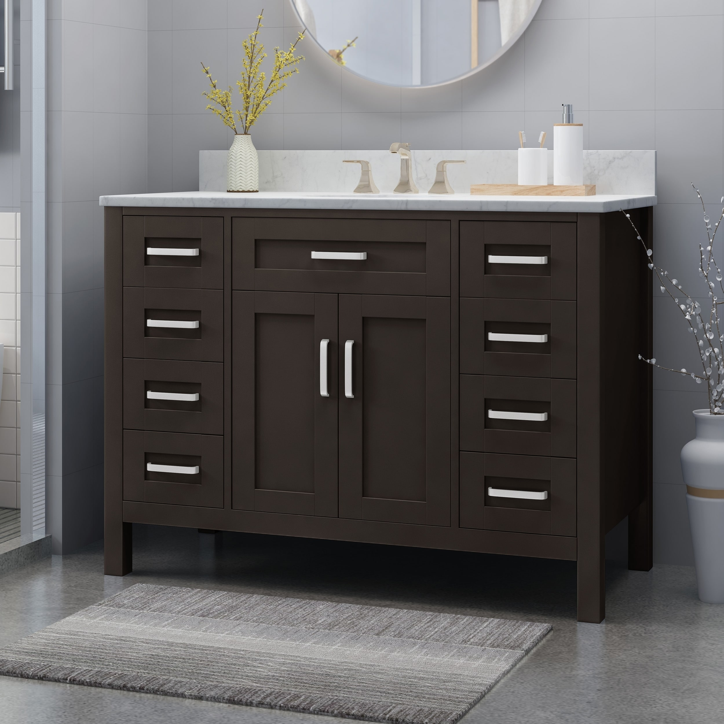 Wood Single Sink Bathroom Vanity