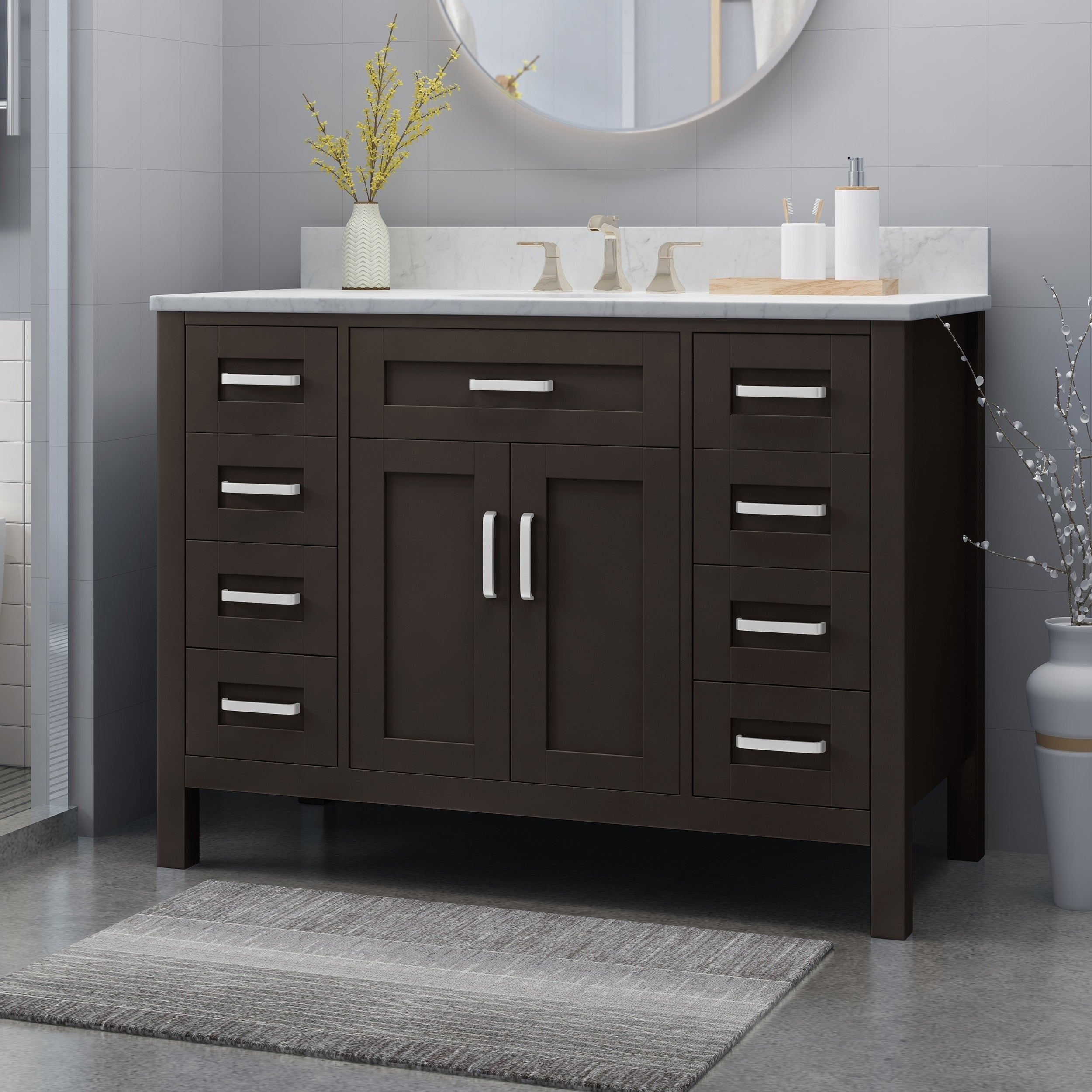 Shop For Greeley Contemporary 48 Wood Single Sink Bathroom Vanity With Carrera Marble Top By Christopher Knight Home Get Free Delivery On Everything At Overstock Your Online Furniture Outlet Store Get 5 In Rewards With Club O 25716175