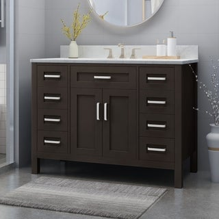 "Greeley Contemporary 48"" Wood Single Sink Bathroom Vanity with Carrera Marble Top by Christopher Knight Home"