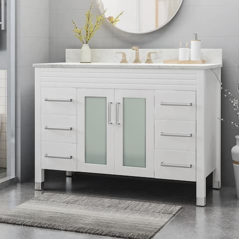 """Holdame Contemporary 48"""" Wood Single Sink Bathroom Vanity with Carrera Marble Top by Christopher Knight Home"""