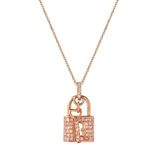 Mon Amour Collection 18k Rose Gold 1 3ct TDW Natural Fancy Pink Lock Pendant