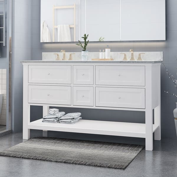Shop Douvier Contemporary 60 Wood Double Sink Bathroom Vanity With Carrera Marble Top By Christopher Knight Home Overstock 25716181,Paper Shredder Reviews Nz