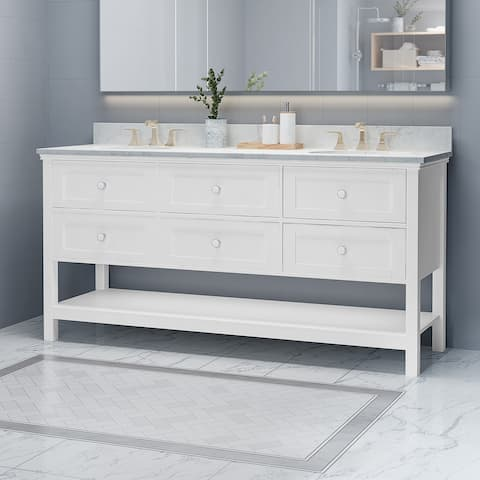 "Douvier Contemporary 72"" Wood Double Sink Bathroom Vanity with Carrera Marble Top by Christopher Knight Home"