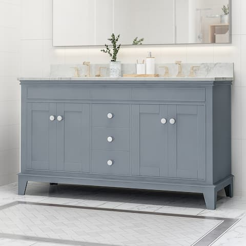 """Feldspar Contemporary 60"""" Wood Double Sink Bathroom Vanity with Carrera Marble Top by Christopher Knight Home"""