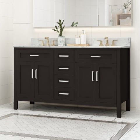 """Greeley Contemporary 60"""" Wood Double Sink Bathroom Vanity with Carrera Marble Top by Christopher Knight Home"""