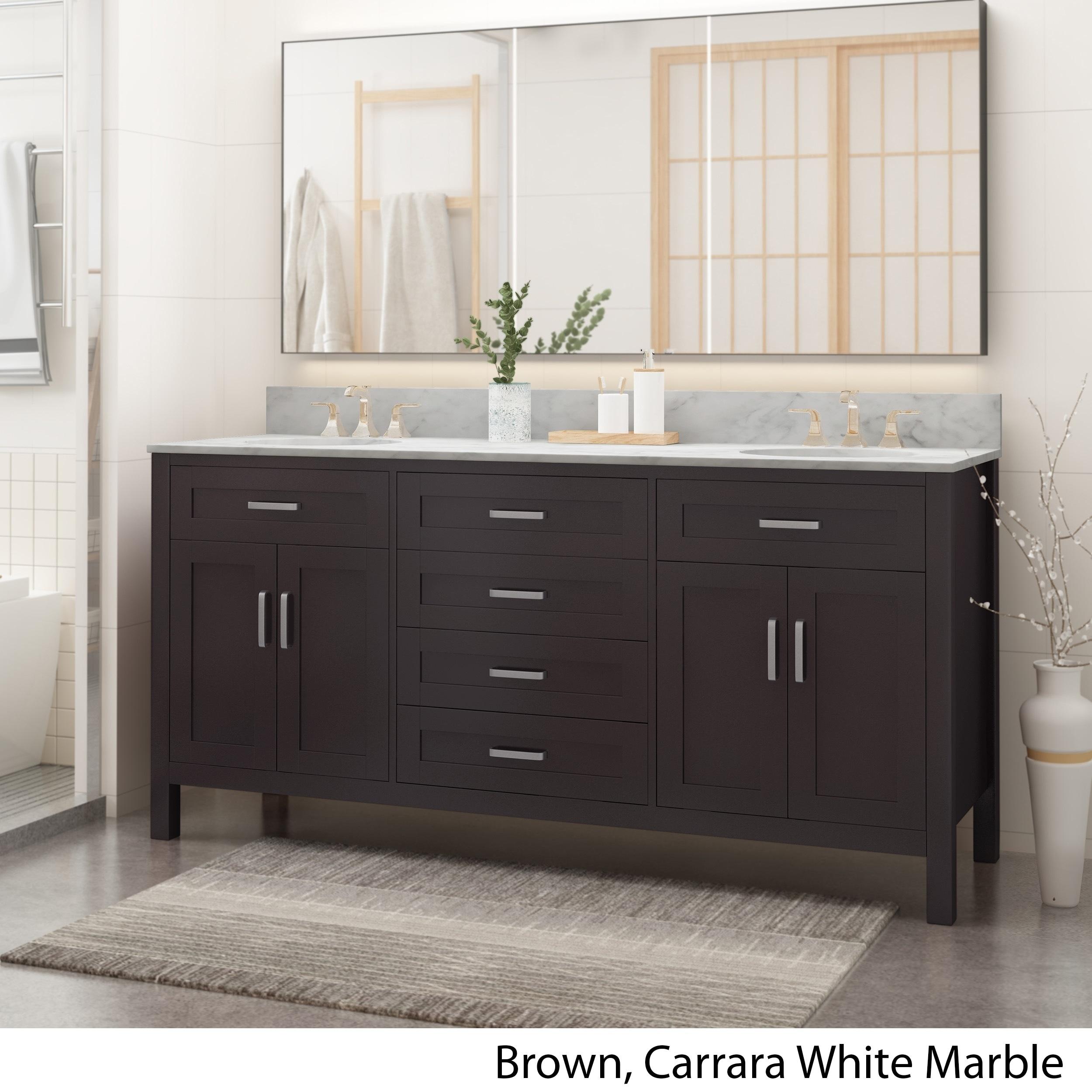 Wood Double Sink Bathroom Vanity