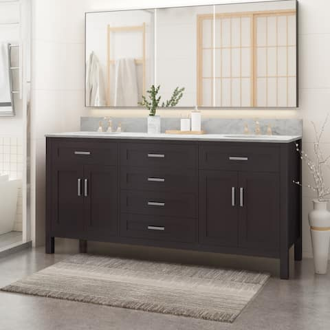 "Greeley Contemporary 72"" Wood Double Sink Bathroom Vanity with Carrera Marble Top by Christopher Knight Home"