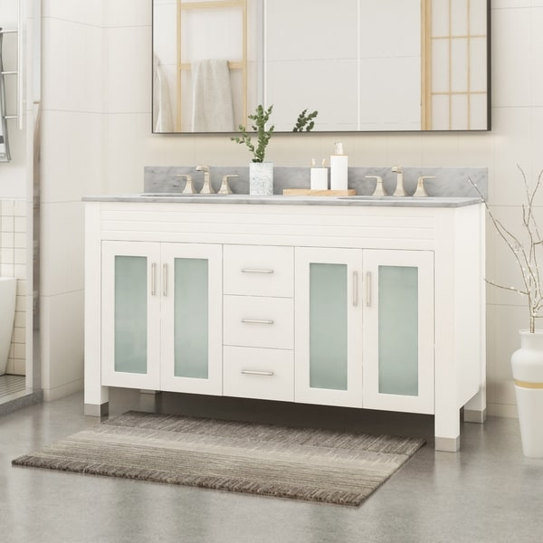 "Holdame Contemporary 60"" Wood Double Sink Bathroom Vanity with Carrera Marble Top by Christopher Knight Home"
