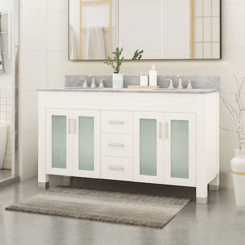 """Holdame Contemporary 60"""" Wood Double Sink Bathroom Vanity with Carrera Marble Top by Christopher Knight Home"""