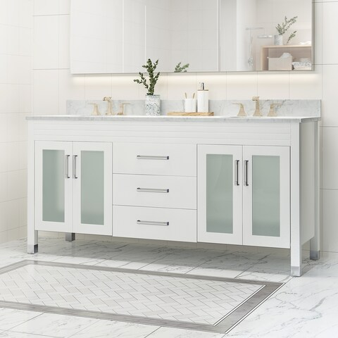 """Holdame Contemporary 72"""" Wood Double Sink Bathroom Vanity with Carrera Marble Top by Christopher Knight Home"""