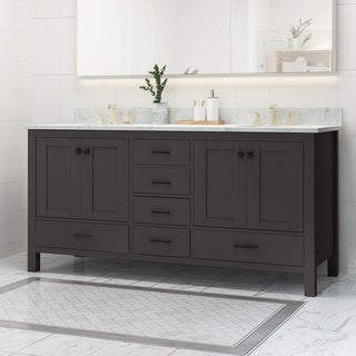 "Laranne Contemporary 72"" Wood Double Sink Bathroom Vanity with Carrera Marble Top by Christopher Knight Home"